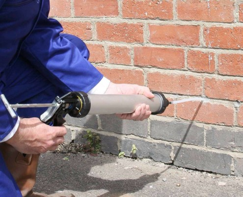 image shows us carrying out damp proofing in nottingham
